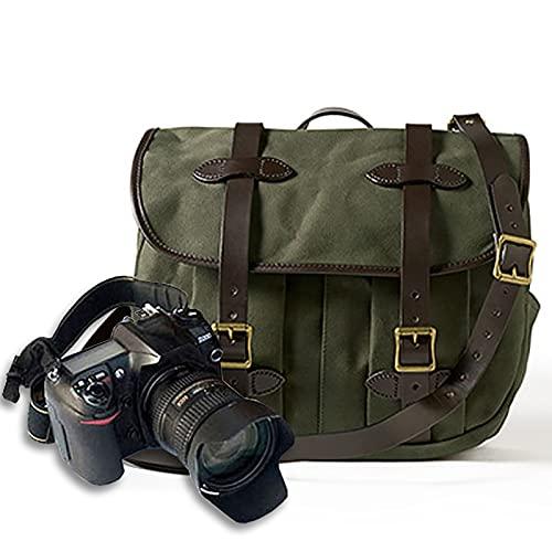 Lvbeis Zaino Borsa per Fotocamera Reflex Digitale Messenger a Una Spalla Tela retrò Borsa per Fotocamera alla Moda Grande capacità può Essere Riposta in Un Laptop,Green,One Size