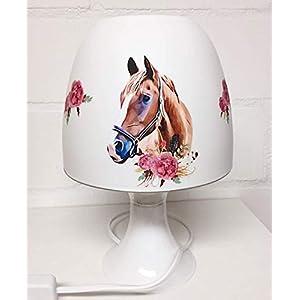 ✿ Tischlampe ✿ PFERDE Horses Blumen ✿ personalisiert mit oder ohne Name ✿ Tischleuchte ✿ Schlummerlicht…
