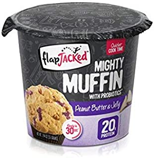 FlapJacked Mighty Muffins, Peanut Butter & Jelly, 12 Pack | High Protein (20g) + Probiotics