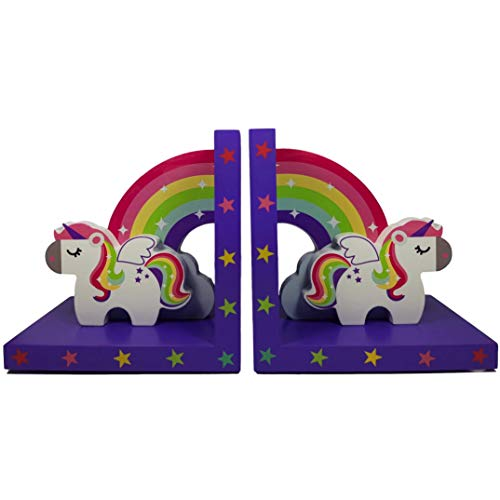 Tinkie Toys handgefertigte hölzerne Regenbogen Einhorn Buchstützen für Mädchen Bücherregal, Kinderzimmer oder Schlafzimmer