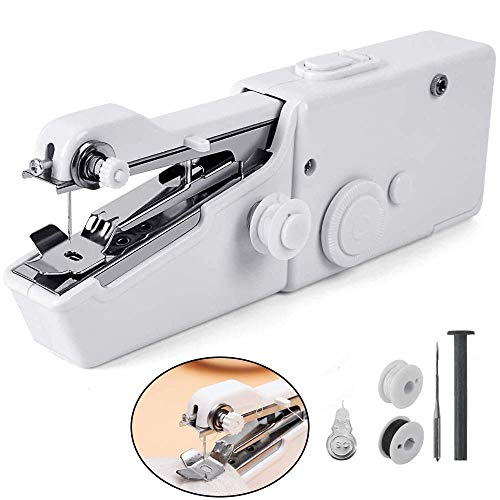 Handheld Sewing Machine, Portable Mini Electric Sewing Machine Small Cordless Handy Stitch Machine Kit for Beginner Fabric Sewing Practical,Fast Stitching