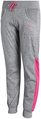 Reebok Girl's Fleece Active Jogger Pants, Size Small, Medium Heather Grey/Pink Mesh