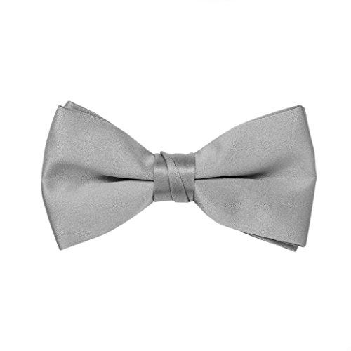 Great British Tie Club Satin Noeud Papillon pour Hommes - Différentes Couleurs (Gris Argent)