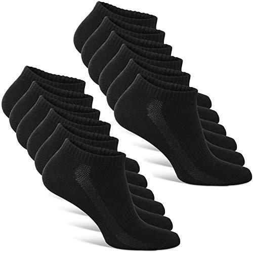Classics ® Herren und Damen Sneaker Socken (6x Paar) Lange Haltbarkeit Dank Bester Qualität (6x Schwarz, 35 - 38)