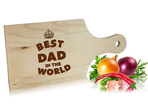 Tabla de cortar de madera con mango, 30 cm, Best Dad in the world, idea de regalo para el Día del Padre, regalo de cumpleaños para hombres