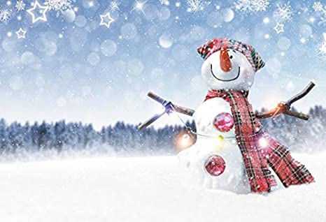 Laeacco 10x7ft Dreamy Bokeh Haloes Cute Snowman Background Vinyl Snowing Scenery Fairy Tale Winter Backdrop Merry Christmas Happy New Year Winter Theme Party Decoration Banner Children Adults Portrait