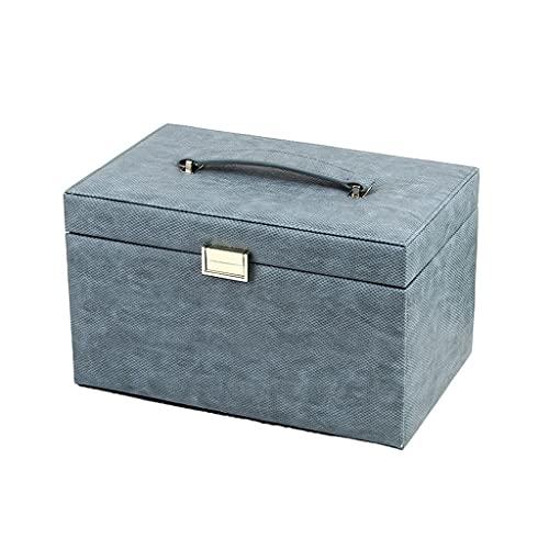 FCBF Caja de joyería Grande PU Caja de joyería de Cuero Caja de Almacenamiento de Joyas Multifuncional con Espejo, for Collar Reloj Gafas de Sol (Color : Blue)