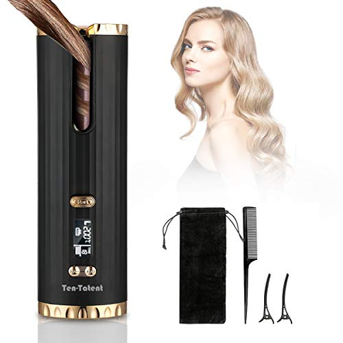 Cordless Automatic Hair Curler, Auto Curling Iron with LCD Display Adjustable Temperature & Timer, Ceramic Hair Curler USB Charging and Rechargeable, Portable Hair Styler for Travel (Black)
