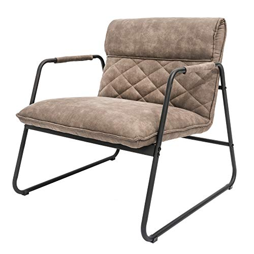 Invicta Interior Retro Lounge Sessel Mustang Lounger antik Taupe Microfaser Bezug Esszimmersessel Stuhl Besucherstuhl
