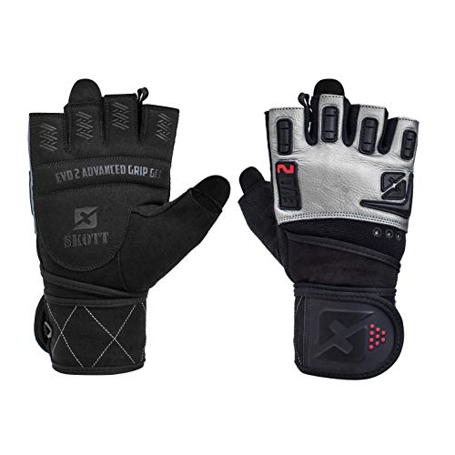 skott 2019 Evo 2 Weightlifting Gloves with Integrated Wrist Wrap Support - Double Stitching for Extra Durability - Get Ripped with The Best Body Building Fitness and Exercise Accessories (X-Large)