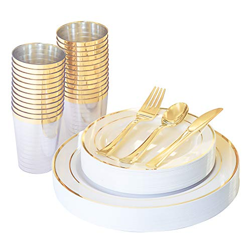 N9R 150PCS Gold Plastic Plates with Plastic Cutlery Set and Cups, Disposable Silverware include 25 Dinner Plates, 25 Dessert Plates, 25 Forks, 25 Knives, 25 Spoons, 25 Cups for Party and Wedding