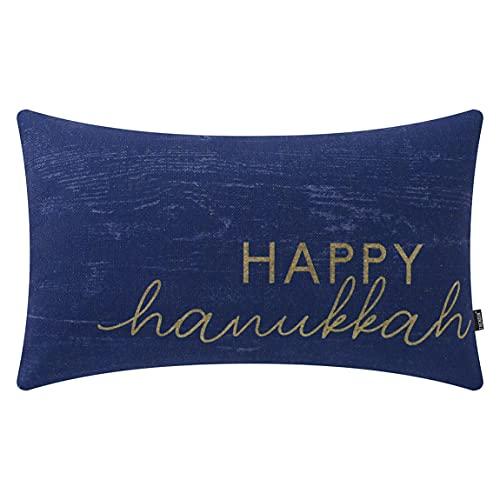TRENDIN Happy Hanukkah Pillow Cover 20x12 inch Lumbar Throw Pillowcase Hanukkah Decorations Home Chair Office Linen Cushion Cover for Sofa Couch PL743TR