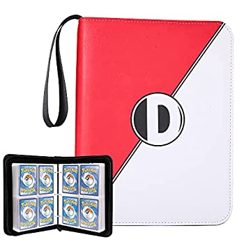 Binder for Pokemon Cards with Sleeves Card Binder Holder Book Compatible with Pokémon Trading Cards Holds Up to 400 Cards 50 Pcs 4-Pocket Pages Card Collector Album with Zipper Carrying Case