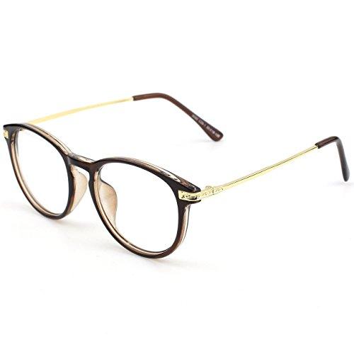 GQUEEN Modische Schlüsselloch Metallbügel Hornbrille Klare Gläser Brille PN2, Braun