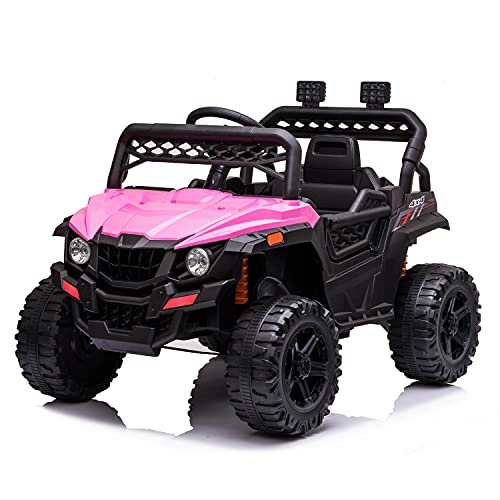 JIMIPARK 12V Electric Ride on Cars, Realistic Off-Road UTV, Ride On Truck, Motorized Vehicles for Kids 2.4GHz Remote Control, with Music, Story, Wearable Wheels, 3 Speed, Spring Suspension, LED Light -  JIMUPARK, JIMU-W42229259
