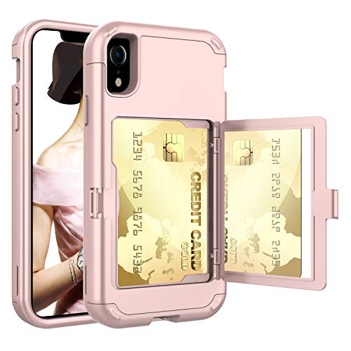Acxlife iPhone XR Case,XR Wallet Credit Card Holder Case,Shockproof Heavy-Duty Protective Hybrid Cover with Card Slot Holder and Mirror&Kickstand Case for(Rosegold, iPhone xr 6.1 Inch)