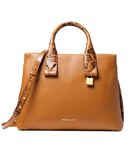 """100% Pebbled Leather with snake embossed accents; Gold-tone hardware Measures 13.5""""W X 10""""H X 5.5""""D Adjustable Strap: 20""""-22""""; Handle Drop: 4"""" Interior Details: Back Zip Pocket, 2 Back Slip Pockets, 4 Front Slip Pockets Zip Fastening"""