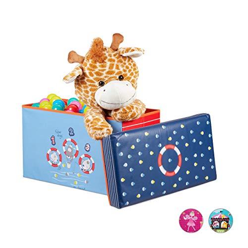 Relaxdays Baúl para juguetes, Taburete infantil, Plegable, Para niños y niñas, Bajo...