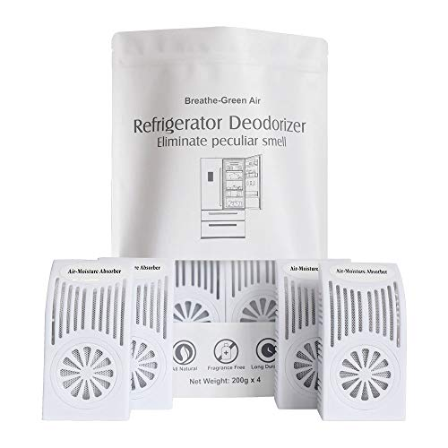 CANAGER Refrigerator Deodorizer, Freezer Odor Eliminator,Better Than Baking Soda-(White,4 Pack)