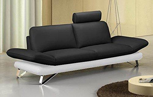 SAM 3-Sitzer Sofa Garnitur Taifun in Schwarz/Weiß, Pflegeleichte Oberfläche in Lederoptik, Kopfstütze optional anbringbar