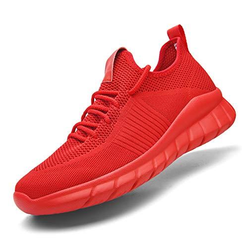 Kaopabolo Laufschuhe Damen Herren Straßenlaufschuhe Fitness Turnschuhe Sneakers Sportschuhe Leichtgewichts Atmungsaktiv Walkingschuhe rot 39