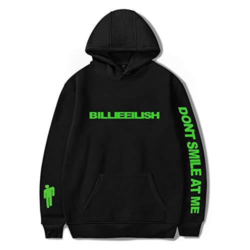 Femme Homme Sweats à Capuche Imprimé Billie Eilish Sweat-Shirts pour Fille Garçon Hip-Hop Hoodies XXS-4XL (Noir, M)