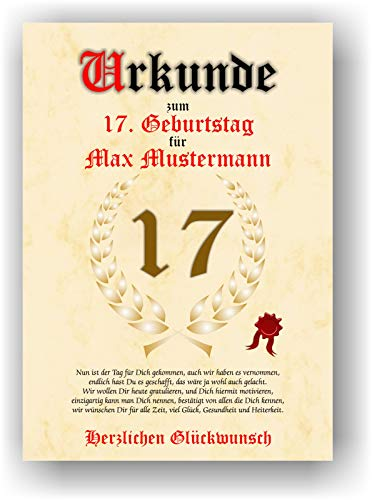 Urkunde zum 17. Geburtstag - Glückwunsch Geschenkurkunde personalisiertes Geschenk mit Name Gedicht und Spruch Karte Präsent Geschenkidee DIN A4
