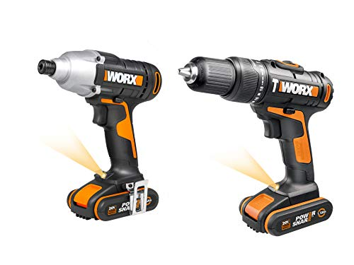 WORX WX938 18V (20V MAX) Impact Driver and Hammer Drill Twin Pack, Black