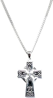 Men's Medium Celtic Cross Pendant on 60 cm Medium Diamond-cut Curb Chain - 925 Sterling Silver