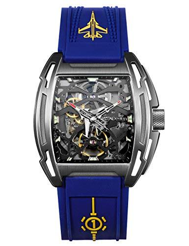 Reloj Hombres Esqueleto Automático Analógico Mecánico Luminoso Correa de Silicona Dial Tonneau Hueco Caja de aleación de Titanio 3ATM a Prueba de Agua