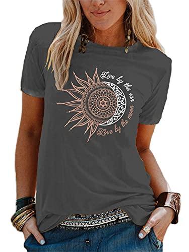 Abtel Sommer Damen T-Shirt Sunflower Print Muster Kurzarm Rundhalsausschnitt Basic Kurzarm Lose Damen Rundhals Casual Top L 1# dunkelgrau