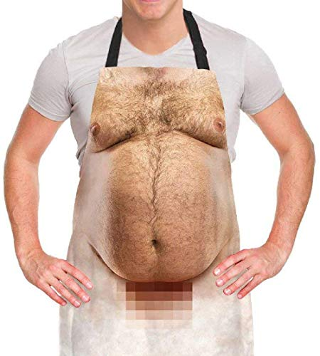 A AIFAMY Funny Men Cooking Grilling Aprons Belly BBQ Funny Gag Gifts for Christmas, White Elephant Gift Exchange
