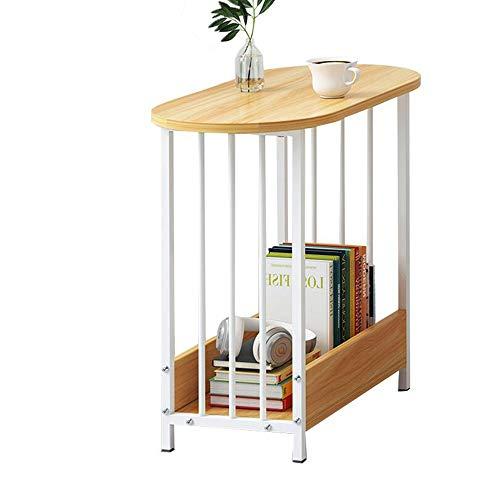 JCNFA BIJZETTAFEL Vierkant End, Sofa Bijzettafel, Stabiele En Stevige Constructie, Gemakkelijk Vergadering For Bedside/Hal/Woonkamer, 3 Kleuren (Color : Wood+white, Size : 23.62 * 11.41 * 20.47in)