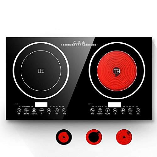Placa de Inducción Doble, 4.4KW Placa de Cocina 2 Fuegos, Placas de...
