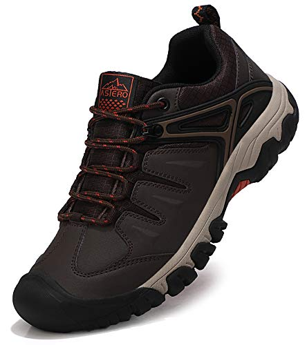 ASTERO Zapatillas Senderismo Hombre Zapatos Trekking Antideslizantes Bajos Botas de Montaña AL Aire Libre Transpirable Sneakers Tamaño 41-46(MARRÓN Oscuro, Numeric_43