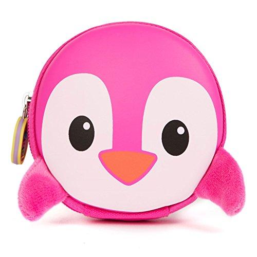 boppi Kids Keyring Pouch Coin Purse Mini Travel Wallet Keychain Holder Zipper Clutch Bag - Pink Penguin
