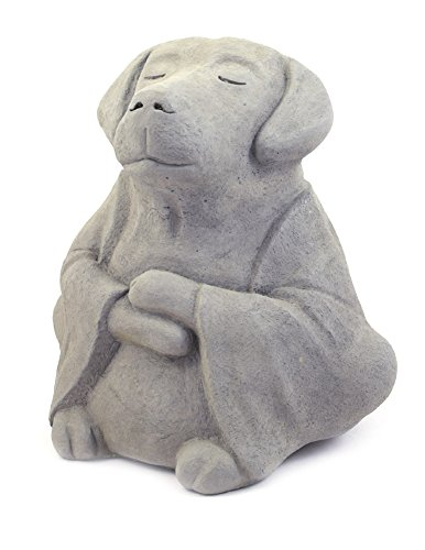 Meditating Dog - Cast Stone Garden Sculpture : Large Size, Grey Stone Finish