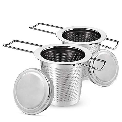 Teesieb Teefilter, Tee-Sieb für losen Tee, Rust-Free 304 Stainless Steel Tea Strainer for Loose Leaf Tea, Premium Strainer, Folding Handle, Fits Most Teacups and Bowls