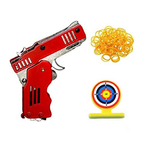 TiKiNi Cinta de goma plegable, juguete, llavero, cinta de goma, pistola, juguete, lanzador, pistola, juguete plegable, hecho a mano, decoración de pistola