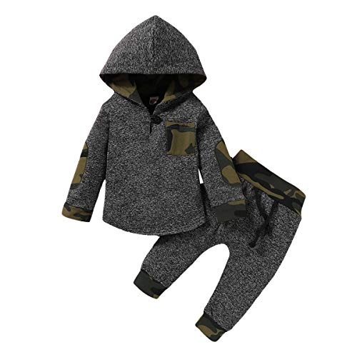 Kids Little Boys Girls Boy Girls Camouflage Clothes Hooded T-Shirt Tops+ Camouflage Pants Outfits Fall Outfit Winter Fall Clothes Outfit Casual Outfit 2-3 Years Old