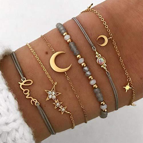 Arimy Pulsera bohemia con diseño de estrellas y luna, hecha a mano, con cuentas, personalizable, accesorios de joyería para mujeres y niñas (6 piezas)