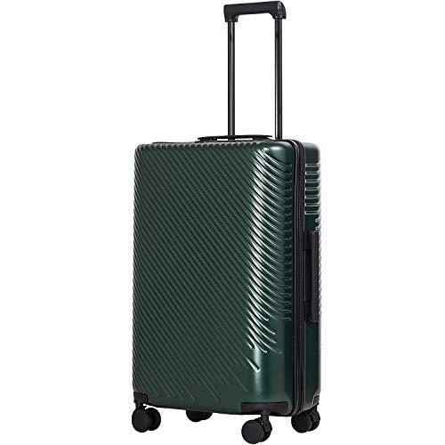 COOLIFE COOLIFE Hartschalen-Koffer Trolley Rollkoffer Reisekoffer mit TSA-Schloss und 4 Rollen (Dunkelgrün, Großer Koffer)