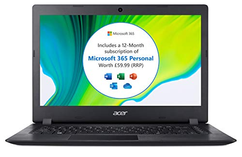 Acer Aspire 1 A114-32 14 inch Laptop (Intel Celeron N4020, 4GB RAM, 64GB eMMC, HD Display, Windows 10 in S Mode, Office 365 Personal, Black)