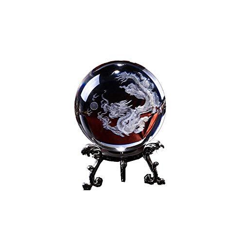 qianyue 3D Crystal Dragon Ball Figurine Feng shui Office Decoratieve Storm Glas Ballen Ornamenten Dier Draak Beeld Ambachten