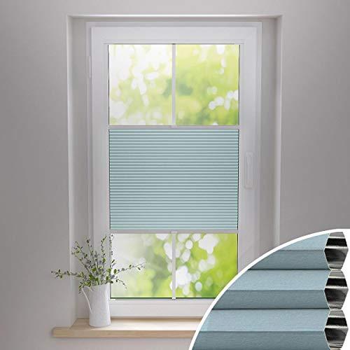 Gardinen21 Thermo Wabenplissee ohne Bohren | Waben-Plissee Klemmfix | Plissee 100x130 für Türen & Fenster | Sonnenschutz, Sichtschutz, Schallschutz, 100% Verdunkelung