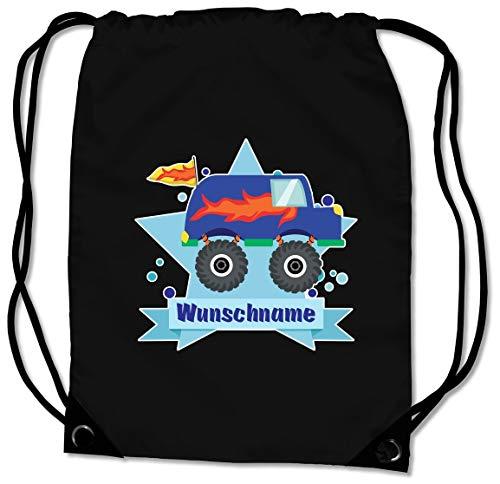 Samunshi® Turnbeutel mit Monstertruck Van und Name für Jungen und Mädchen personalisierbar personalisiert mit Namen Sportbeutel für Schule Sport Sporttasche schwarz