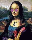 FGHJSF Pintar por numeros Maquillaje Mona Lisa DIY Pintura por números con Pinceles y Pinturas Decoraciones para el Hogar para Adultos Niños Principiantes Pintar - 40X50 cm (Sin Marco)