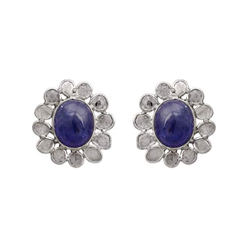 Pendientes de botón de tamaño grande de diamantes Polki sin cortar de 2.50 CTW con tanzanita azul natural - Plata de ley 925 - Pendiente de botón de racimo impresionante
