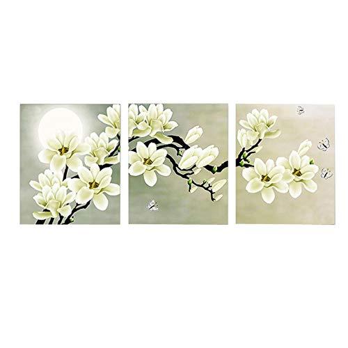 Tríptico Arte De La Pared Lienzo 3 Piezas Rama Simple Flores Blancas Tríptico Cuadro Moderno Corredor Dormitorio Trípticos De Salon Decoracion Mural Pintura Al Óleo-C1