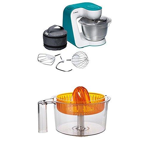 Bosch MUM54D00 Küchenmaschine StartLine (900 W, 3,9 L Edelstahl-Rührschüssel, einfaches Handling /Verstaulösung) dynamic blau + Zitruspresse transparent mit orangem Presskegel